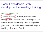 example of Google SERP mobile friendly indicator